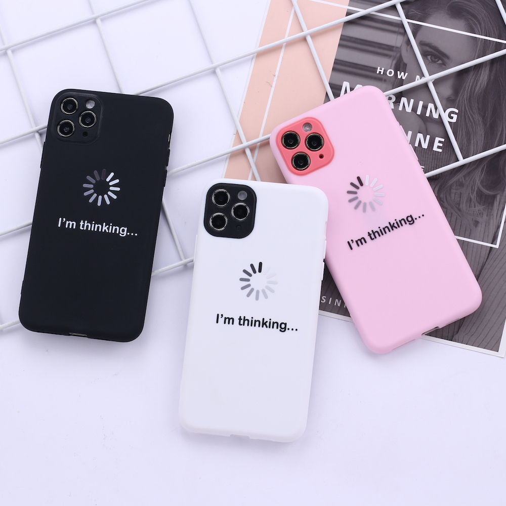 I am thinking Processing Funny Camera Protection Soft Silicone Phone Case Funda For iPhone 11 X XS XR Pro Max 6 7 7Plus 8 8Plus image