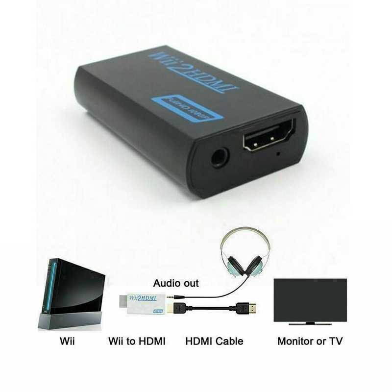Портативный для Wii к HDMI Wii 2HDMI Full HD конвертер o выходной адаптер ТВ черный