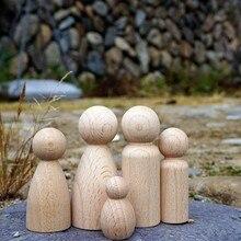 10pc madeira de faia diy pintado pegdolls artesanato de madeira brinquedos do bebê pintura decoração para casa sala estar