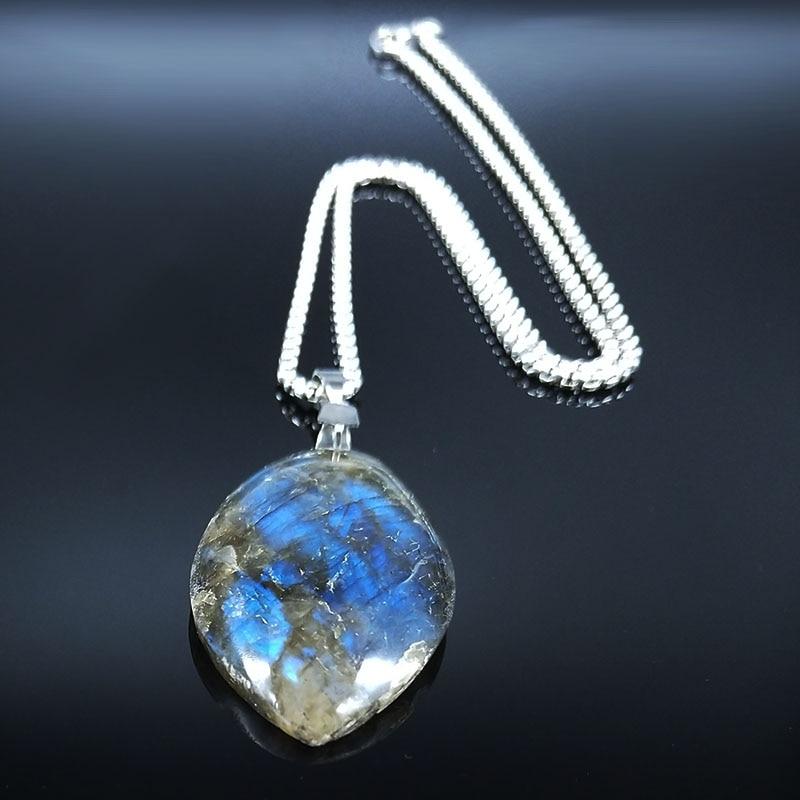 Stainless Steel Labradorite Pendant cabochon Irregular shape strong shine labradorite pendant Necklaces Jewelry joyeriaNG70S04