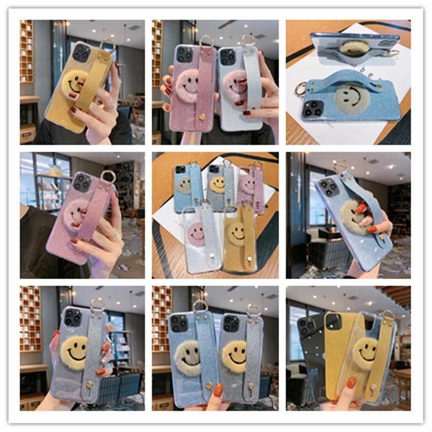 Pluche Glimlach Glitter Wrist Case Voor Samsung Galaxy J7 J6 Prime J5 J4 Plus 2018 J3 2017 J1 Mini Ace core J2 Pro 2018 2016 Covers