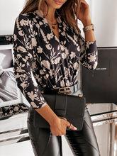 Damskie bluzki jesień kwiatowy Print seksi koszulka zimowa damska z długim rękawem praca OL Pullover biuro topy damskie