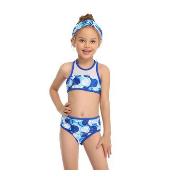 2-14 Years Toddler and Teen Girls Athletic Swimsuits High Neck Front Zipper Sports Crop Top With Boyshorts Kids Bathing Suit - Blue, Girl 152 8-12T