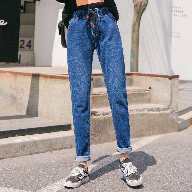 Женские джинсы больших размеров с высокой талией и завязками, осенние джинсы для мам, обтягивающие длинные джинсовые шаровары синего и черн...