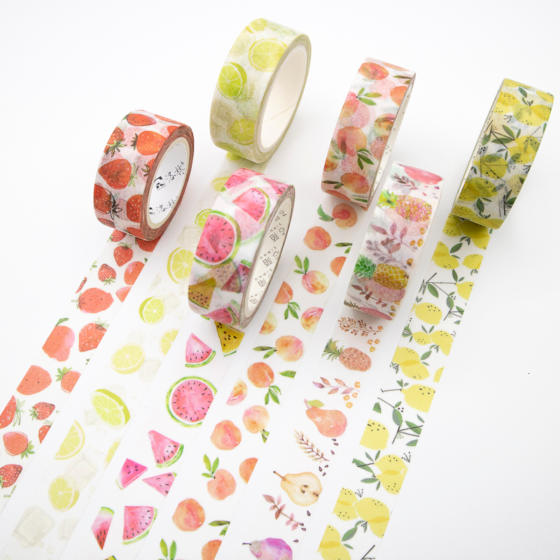 Summer Fruit Washi Tape Set Sticky Decorative Small Fresh Scrapbook DIY Office Stationery Masking Paper Tape 1PCS