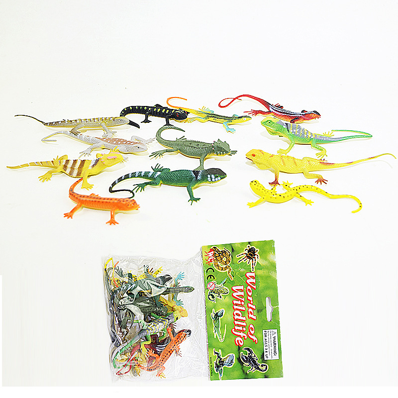 12pcs Model Lizard Toy Reptile Simulation Plastic Forest Wild Animal Model Toys Ornaments PVC Figurine Home Decor Gift For Kids