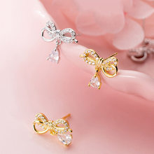 Sweet Earrings Water Drop Rhinestone Bow 925 Sterling Silver Gold Stud Earrings Jewelry Female Delicate Gifts 14x13mm-1 Pair pair of delicate silver stick chain earrings for women
