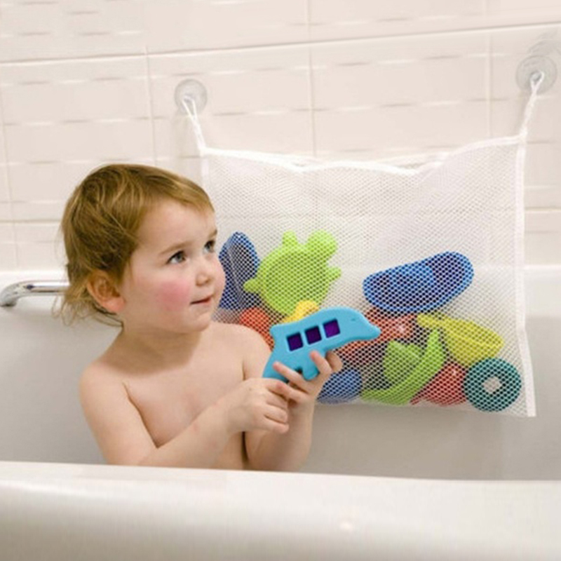 Children's Bath Play Toys Storage Bag Kid Bathroom Water Suction Cup Organiser Woven Mesh Oxford Fabric Baby Tubs Storage Bags