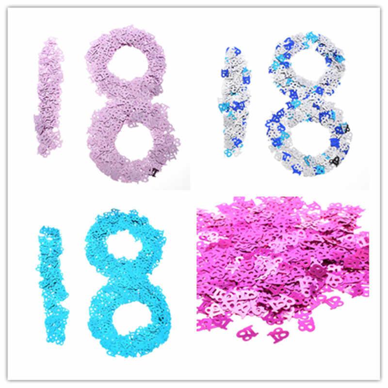 18th ปี Happy Birthday Party ตกแต่งตาราง Scatters ฟอยล์จำนวนดิจิตอล 18 ที่มีสีสันโรย Confetti party confetti