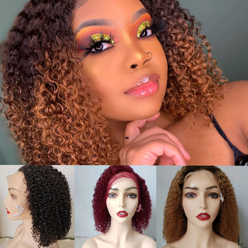 DreamDiana Mongolian Kinky Curly Bob Wig Ombre Remy Front Lace Wig 100% Colored Human Hair Wig 99J 150 Density 13x4 Lace Wig L