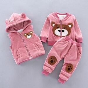 Image 2 - Ensemble de vêtements dhiver en polaire pour bébés, garçons et filles, tenue dours de dessin animé, Costume chaud pour enfants, 2020