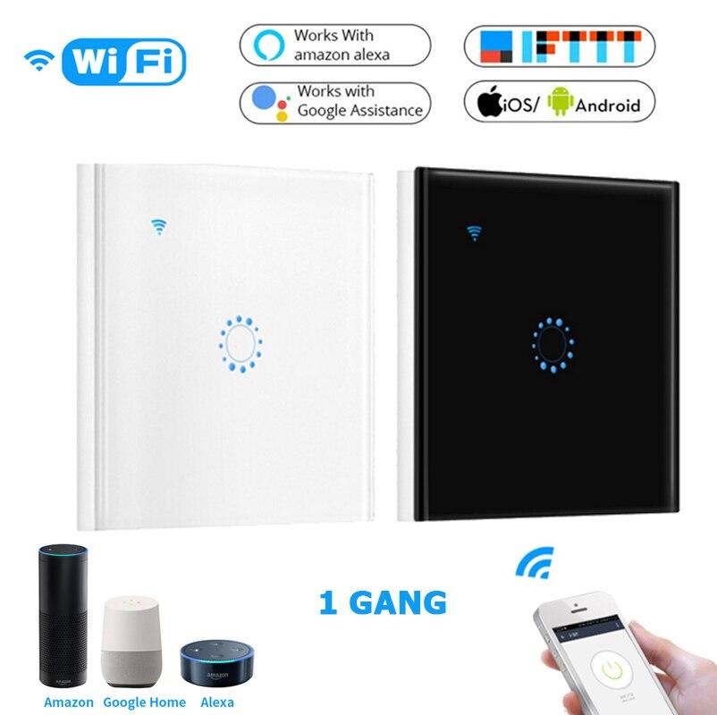 Touch Switch Smart Light Switch Panel Wall Interruptor 1Gang Wifi Light Switch US/EU Standard Work With Alexa Google Home