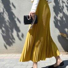 купить New Pleated Skirt Women Casual Chiffon Maxi Skirt Autumn Winter Pleated Multi Colors Fashion Flared High Waist Lady Long Skirt онлайн