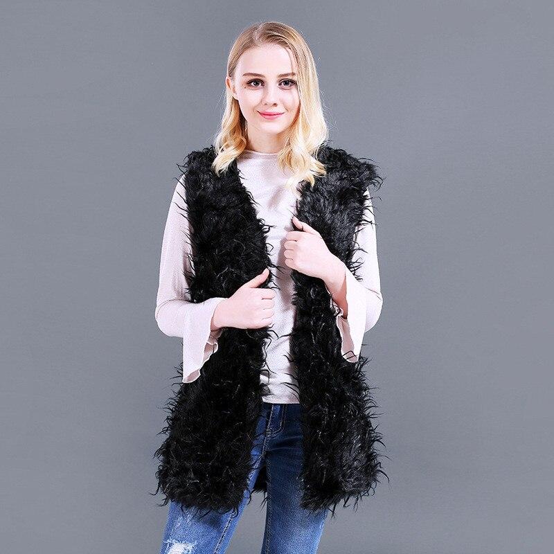 Focal20 High Street Lady Faux-fur Coat Solid Faux-Fur Coat Women Ostrich Vest V Neck Sleeveless Women Coat Jacket