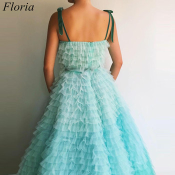 New Arrival Mint Green Prom Dresses Spaghetti Sexy Summer Beach Evening Dresses 2019 Tiered Celebrity Gowns With Sashes Pregnant 2