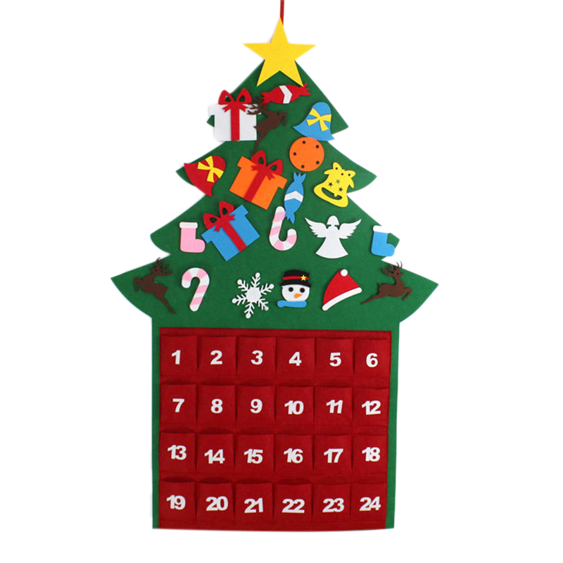 Felt Christmas Tree Ornaments Advent Calendar Set DIY Xmas Countdown Decorations Wall Door Hanging Gift For Kids
