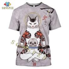 SONSPEE 3D Print Japanese Samurai Cat Tattoo Men's T-shirt Cool Classic Art Tshirt Women Summer Casual O-neck Shirt Fitness Tops