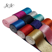 JOJO BOWS 75mm 2y Sparkly Glitter Ribbon Solid Webbing For DIY Hair Bows Material Gift Box Wrapping Apparel Sewing Supplies
