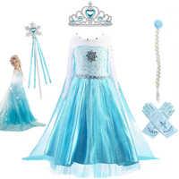 Vestidos de princesa para bebé y niña, disfraz de Elsa, corpiño sintético ostentoso con cristales, Elsa, fiesta, Reina de la nieve, Cosplay