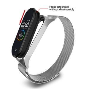 BAPICK Stainless Steel Metal Strap For Xiaomi Mi Band 4 3 Strap Smart Watch Band Mi Band 3 4 Bracelet Pulseira Miband 4 3 Strap