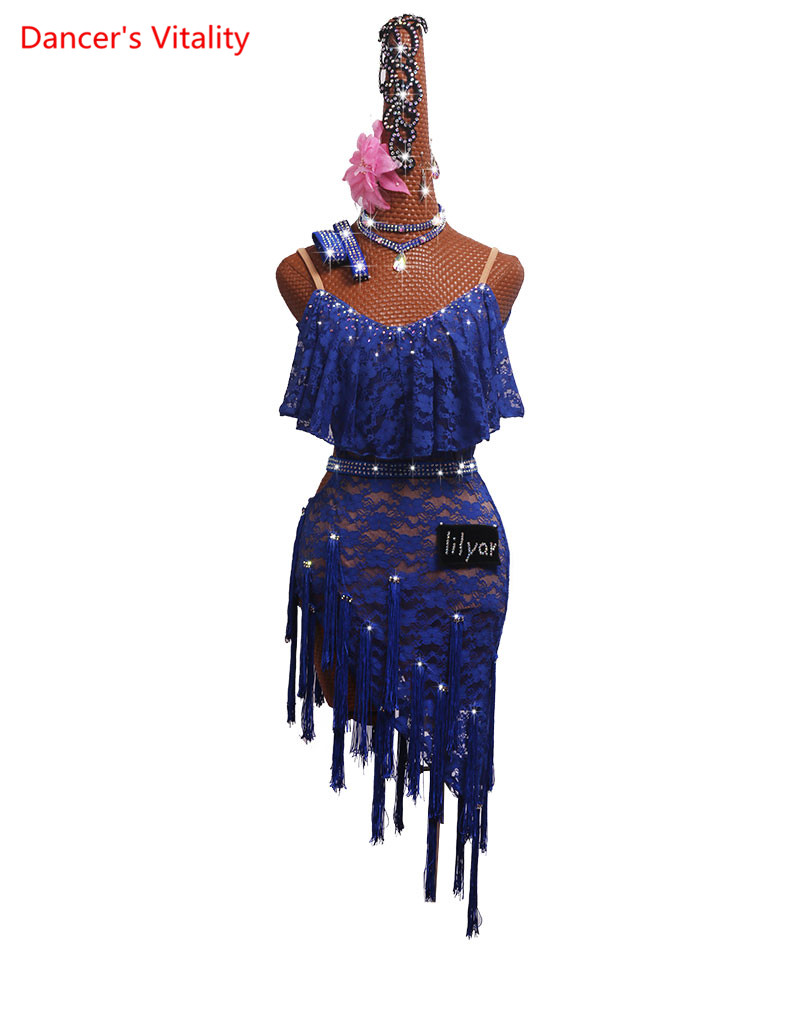 Custom Made Latin Dance Competition Performance Suit Sleeveless Blue Tassel Skirt Lace Skirt Dance Latin Dress