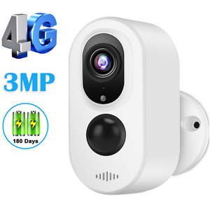4G Sim Card Network Security Camera 3MP HD Rechargeable Battery Powered IP Camera 4G LTE Camera Weatherproof Outdoor Indoor