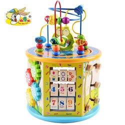 Kinderen Houten Grote Size Multi-functionele Educatief Grote Kraal rijgen Speelgoed Schat Borst Zuigelingen Vroege Jeugd Intellec