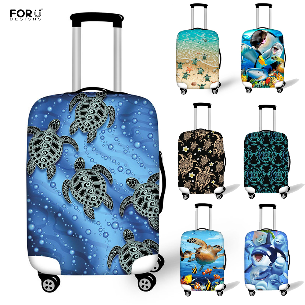 FORUDESIGNS Turquoise Tribal Sea Turtle Dolphin Pattern Luggage Protective Covers Elastic 18-32 Inch Suitcase Travel Accessories