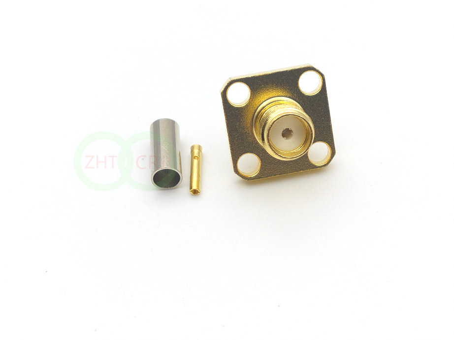 RF Coax SMA Female Chassis Panel Mount 4 Holes  RF Coaxial for RG316 RG174 Cable Connectors     - title=