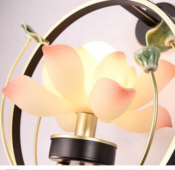 Abat-jour De Lotus Blanc Rose éclairage Intérieur Lampe Murale Moderne éclairage De La Maison Décor Applique Lampe De Feuille De Lotus En Céramique Verte Pour Couloir