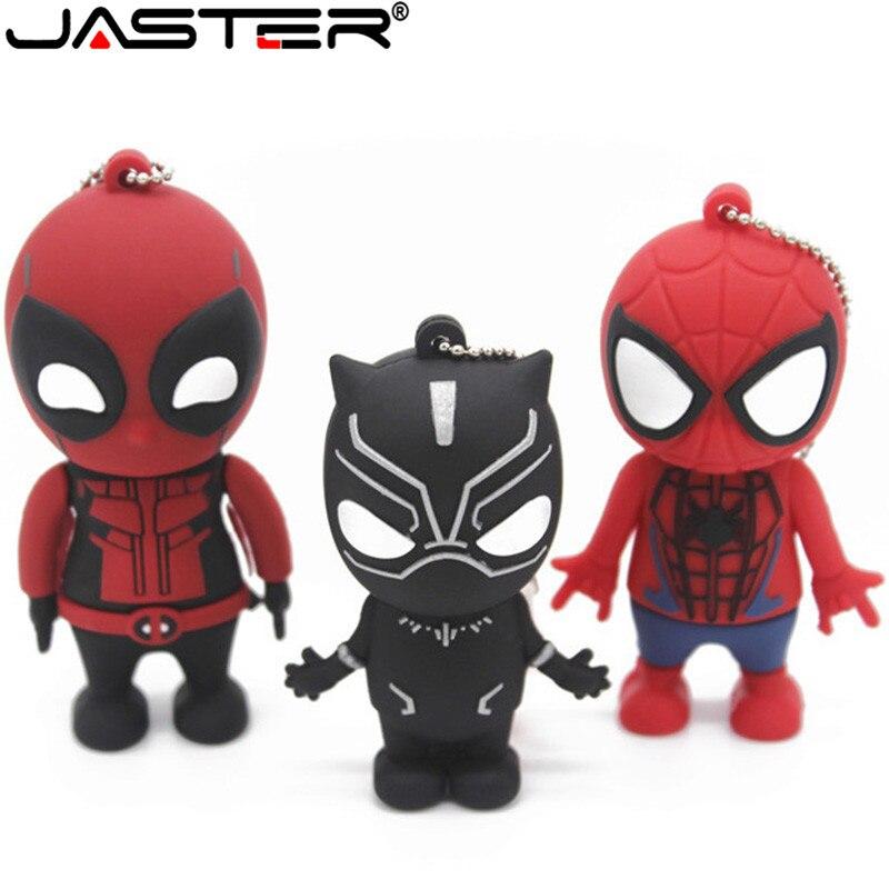 JASTER Marvel Comics Black Panther Spiderman Deadpool USB 2.0 Pen Drive Minions Memory Stick Pendrive 4GB 8GB 16GB 32GB64GB Gift