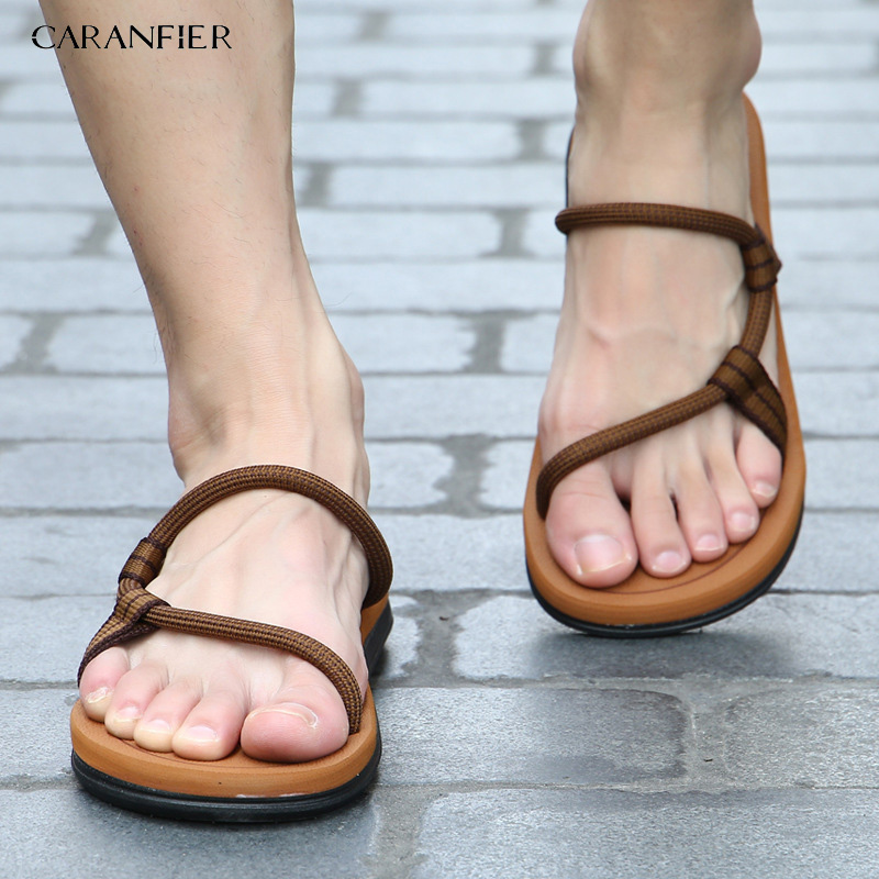 CARANFIER Gladiator Sandals Flats-Slippers Flip-Flops Slides Beach-Shoes Male Roman Summer title=