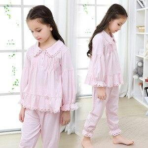 Image 4 - 2019 가을 어린이 잠옷 세트 소녀 잠옷 긴 소매 면화 홈 스타일 유아 의류 어린이 잠옷 고품질