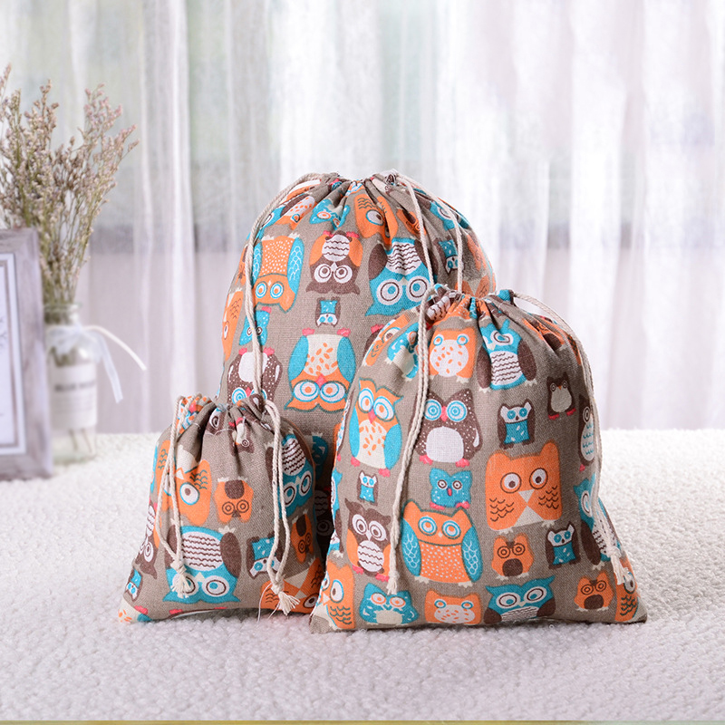 Hot Women Cotton Drawstring Shopping Bag Eco Reusable Folding Grocery Cloth Pouch Draw Pocket Case Travel Home Bags Owl Bear