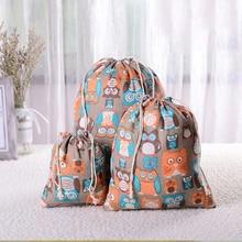 Горячих женщин хлопка шнурок хозяйственная сумка Eco многоразовые складной продуктовый Притяжка ткани чехол карманный чехол путешествия сумки Сова медведь