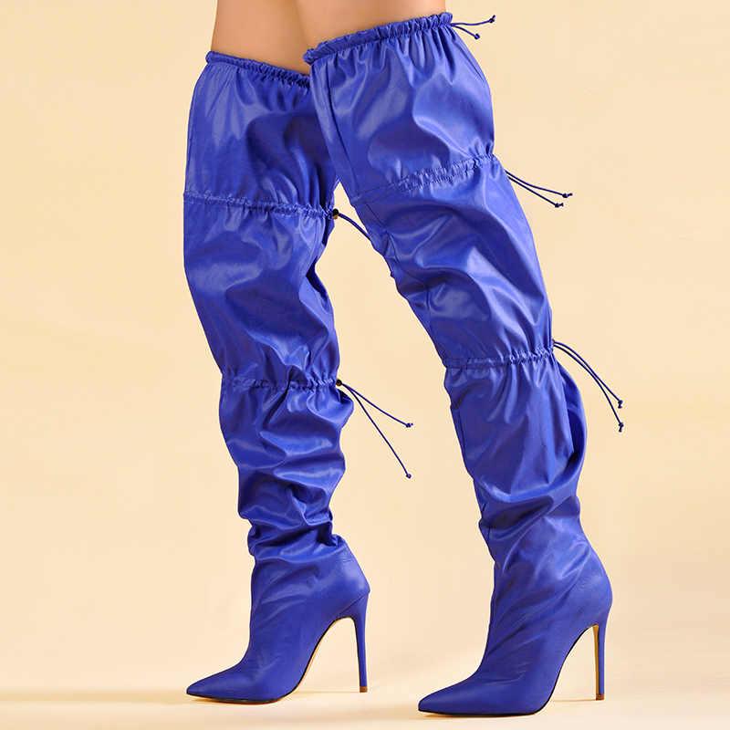 Edição limitada pinkpalms sapatos femininos novo estilo de rua moda mostrar à moda boota encerado à prova dwaterproof água pano coxa botas altas