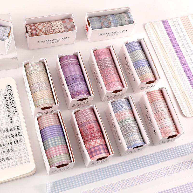 6 Pcs Cute Grid Masking Tape Set Stickers Scrapbooking Decorative Adhesive Washi Paper DIY Diary Album Bullet Journal Supplies