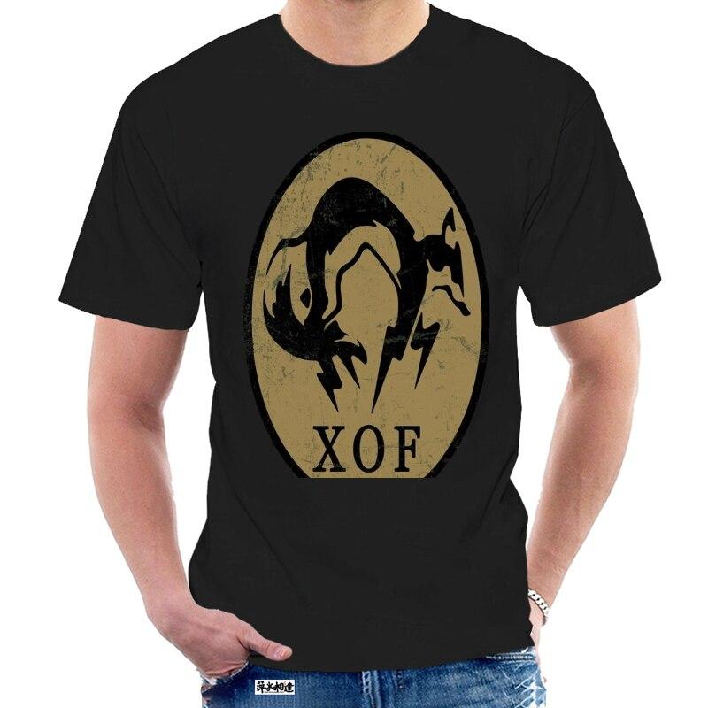 Футболка мужская с принтом «XOF», Однотонная рубашка с принтом, 100% хлопок, с логотипом, 5 звеньев, черная, металлическое снаряжение, @ 005536