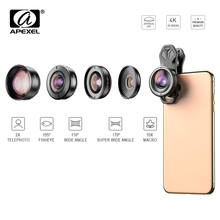 APEXEL 5in1 Mobile Phone Lens Case&Clip Kit HD Fisheye Wide Angle 4K Macro Telescope Lens for Samsung iPhone and All smartphone