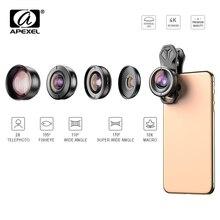 APEXEL 5in1 étui pour objectif de téléphone portable et Kit dagrafe HD Fisheye grand Angle 4K Macro lentille de télescope pour Samsung iPhone et tous les smartphones