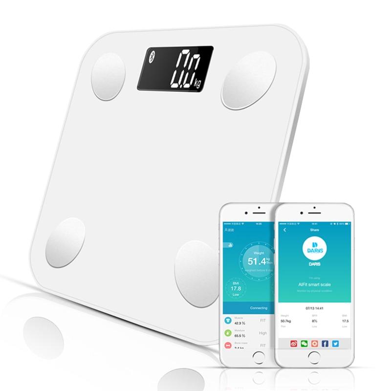 Sdarisb escalas bluetooth piso peso corporal escala de banheiro inteligente display backlit balança peso corporal gordura muscular água massa imc