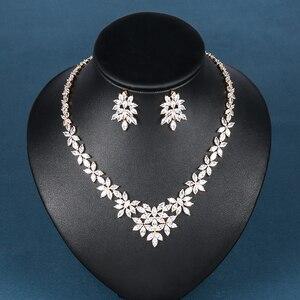 Image 3 - WEIMANJINGDIAN White Gold Plated Zirconia Bloemen Ontwerp Zirkoon CZ Ketting & Earring Huwelijk Bruids Sieraden Sets