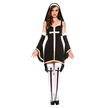Halloween Nun Costume Ladies Sexy Exotic Mary Church Missionary Cross Hen Party Fantasia Fancy Dress