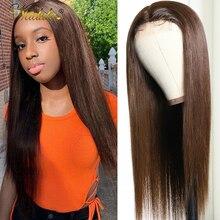 Парик Nadula T-Part из человеческих волос #4, парик с прямыми кружевами спереди для женщин, предварительно выщипанная кружевная застежка, парик ср...