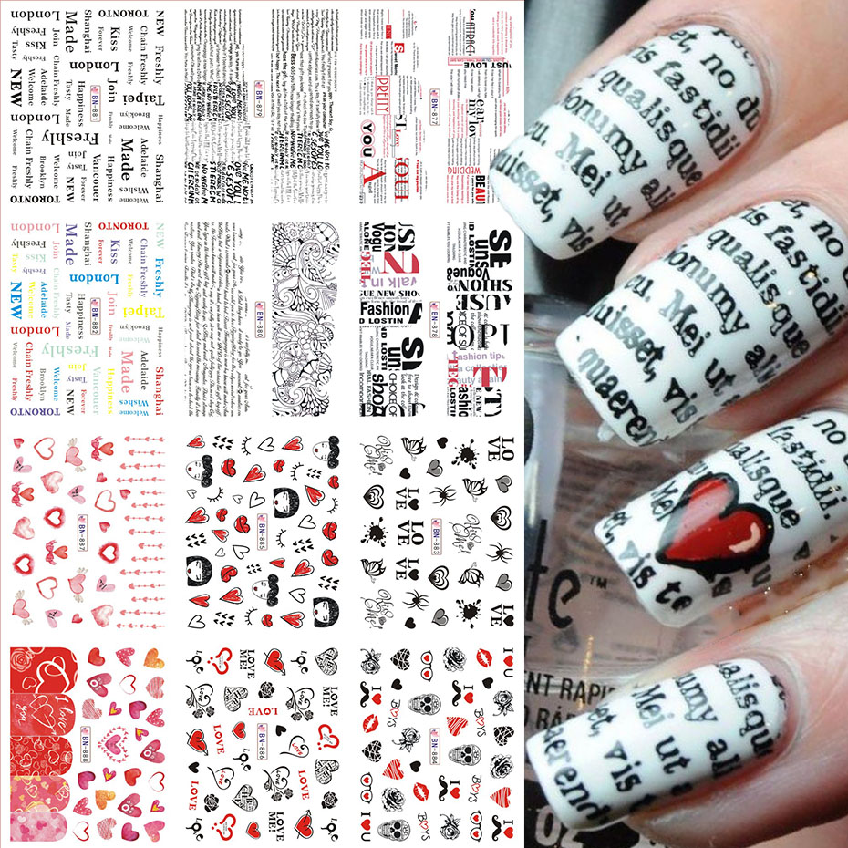 12pcs Valentines Manicure Love Letter Flower Sliders for Nails Inscriptions Nail Art Decoration Water Sticker Tips GLBN1489-1500 17