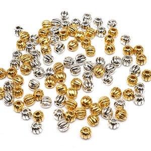 Тибетские посеребренные рукоделие ювелирные изделия фурнитура Винтажные бусины аксессуары металлические маленькие Арбузные бусины 4 мм 100 шт