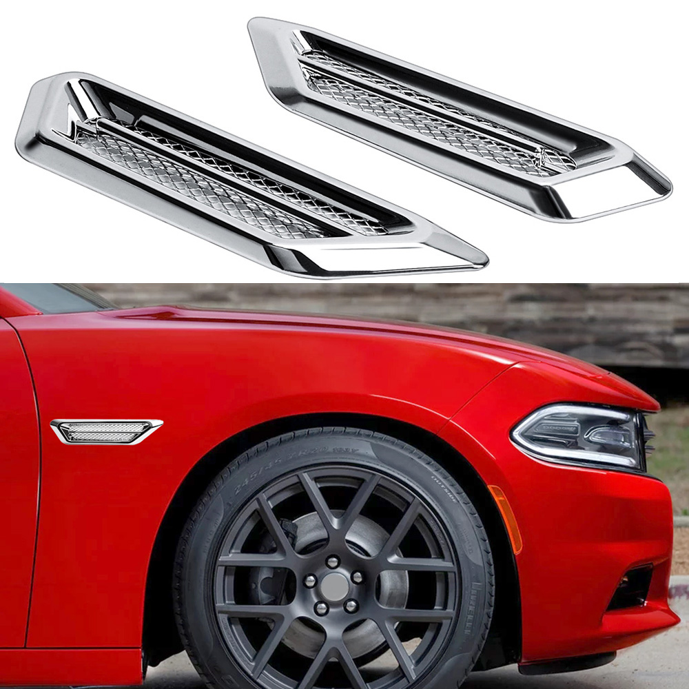 2pcs Universal Car Fender <font><b>Hood</b></font> Air Flow Vent Intake Trim Sticker Cover For Chevrolet Volvo <font><b>Audi</b></font> A3 A4 A6 <font><b>A8</b></font> Q3 B6 Q5 Car Tuning image