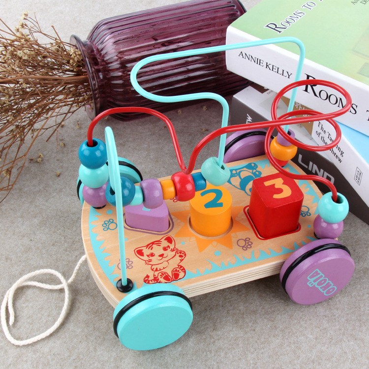 ENLIGHTEN Wooden Toys Children Early Childhood Educational Multi-functional With Numbers Drag Iron Wire Bead Maze Cart
