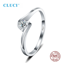 цена на CLUCI Simple  Silver 925 Twisted Ring for Women Wedding Engagement White Zircon Real Sterling Silver Ring Jewelry