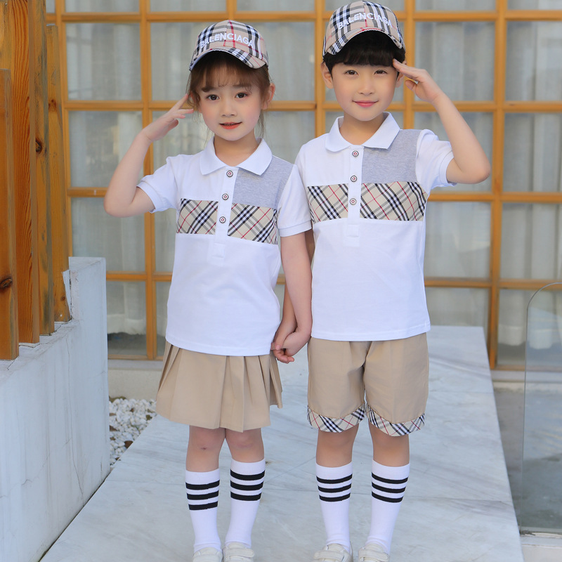 Kindergarten Suit Summer Wear Short Sleeve Summer Set British Style Children Business Attire Mixed Colors Plaid Young STUDENT'S